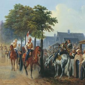 Гвардия на постое в деревне во время маневров в 1851 году