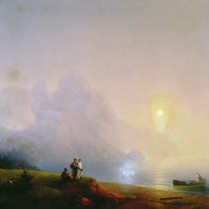Берег моря. Туманное утро. 1850-е