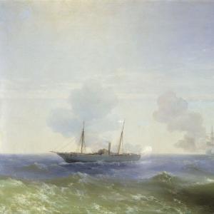 Бой парохода Веста с турецким броненосцем Фехти-Буленд в Чёрном море 11 июля 1877 года. 1877