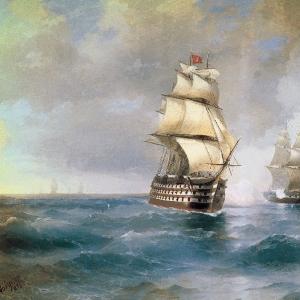 Бриг Меркурий, атакованный двумя турецкими кораблями. 1892