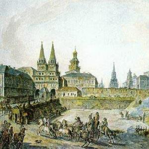 Вид Воскресенских ворот Китай-города, Никольских ворот Кремля и Неглинного моста