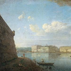 Вид Дворцовой набережной от Петропавловской крепости. 1794