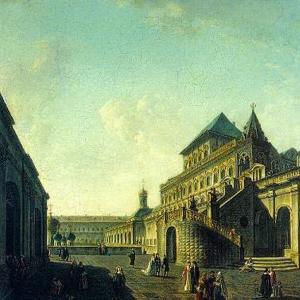 Боярская площадка или Постельное крыльцо и Храм Спаса за золотой решеткой в Московском Кремле