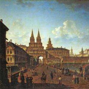 Вид на Воскресенские и Никольские ворота и Неглинный мост от Тверской улицы в Москве