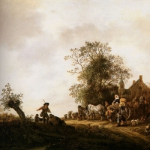 Адриан ван Остаде - Путники у постоялого двора