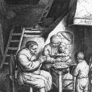 Адриан ван Остаде - Молитва перед приемом пищи