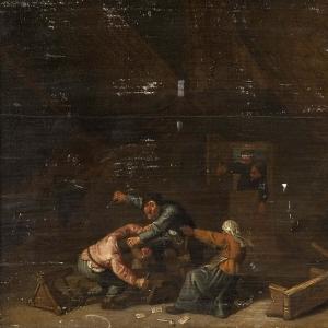 Адриан ван Остаде - Драка между азартными крестьянами