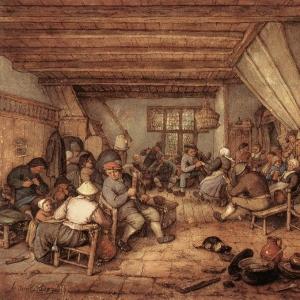 Адриан ван Остаде - Крестьяне, празднующие в таверне