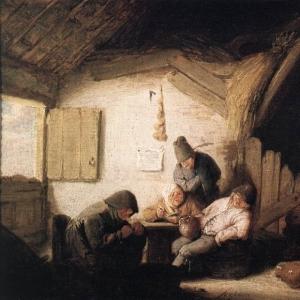 Адриан ван Остаде - Деревенская таверна с четырьмя фигурами