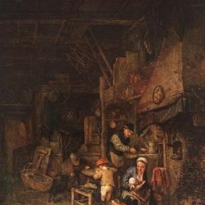 Адриан ван Остаде - Крестьянская семья на фоне интерьера