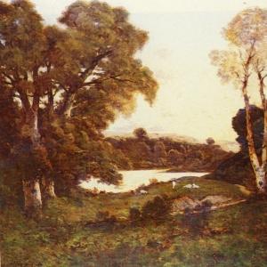 Арпиньи Анри Жозеф - Козы, пасущиеся у озера на закате, 1899