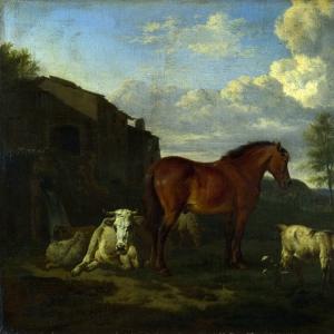 Адриан ван де Велде - Животные у хлева