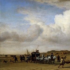 Адриан ван де Велде - Экипаж на берегу Схевенингена