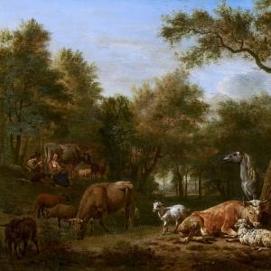 Адриан ван де Велде - Лесной пейзаж со стадом