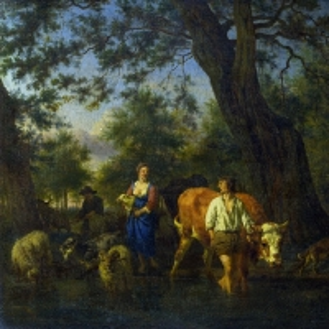 Адриан ван де Велде - Крестьяне со скотом, переходящие ручей