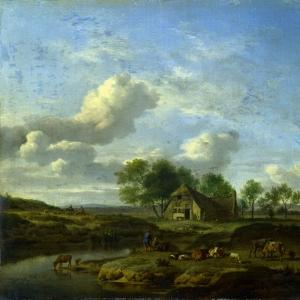 Адриан ван де Велде - Пейзаж с фермой у ручья