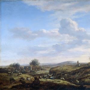 Адриан ван де Велде - Проселочная дорога в холмистой местности
