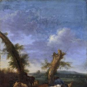 Адриан ван де Велде - Пейзаж с овцами и спящим пастухом