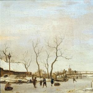 Адриан ван де Велде - Конькобежцы и хоккеисты на замерзшем канале