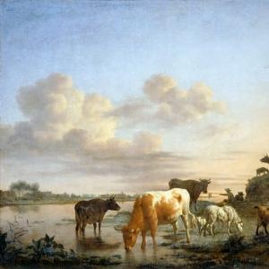 Адриан ван де Велде - Пейзаж с домашними животными на берегу реки