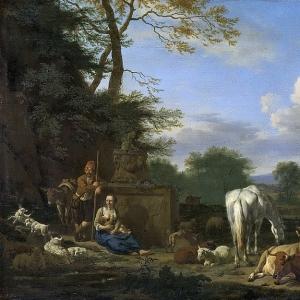 Адриан ван де Велде - Идиллический пейзаж, отдыхающие пастухи и домашний скот