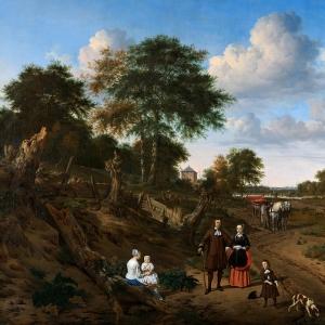 Адриан ван де Велде - Портрет семейной четы с двумя детьми и няней на фоне пейзажа
