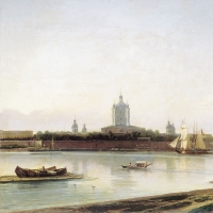 Вид Смольного монастыря с Большой Охты. 1870-е