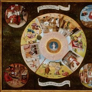 Семь смертных грехов (столешница) (1480-1485)  (Прадо, Мадрид)