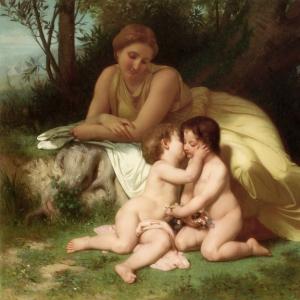 Вильям Бугро - Женщина, наблюдающая за двумя обнимающимися детьми