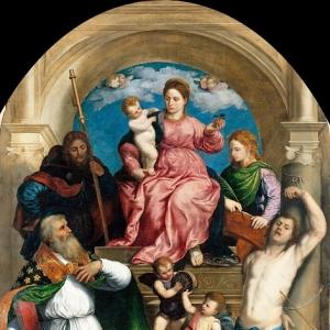 Бордоне Парис - Мадонна с Младенцем на троне со свв Фабианом, Рохом, Себастьяном и Екатериной Александрийской