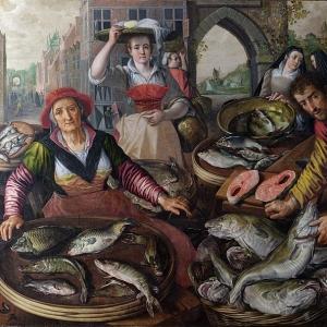 Иоахим Бейкелар - Четыре элемента- Вода. Рыбный рынок со сценой чудесного лова рыбы на заднем плане