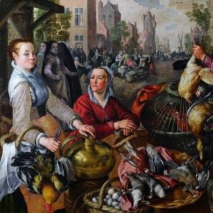 Иоахим Бейкелар - Четыре стихии- Воздух. Рынок мяса птицы со сценой возвращения блудного сына на заднем плане