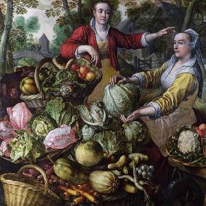 Иоахим Бейкелар - Четыре элемента- Земля. Рынок фруктов и овощей со сценой бегства в Египет на заднем плане