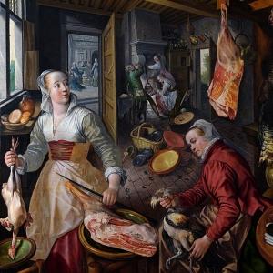 Иоахим Бейкелар - Четыре элемента- Огонь. Сцена на кухне с Христом в доме Марты и Марии на заднем плане