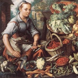 Иоахим Бейкелар - Женщина, торгующая на рынке фруктами, овощами и домашней птицей