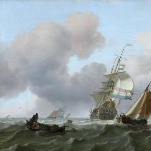 Людольф Бакхёйзен - Корабли в неспокойном море, 1697
