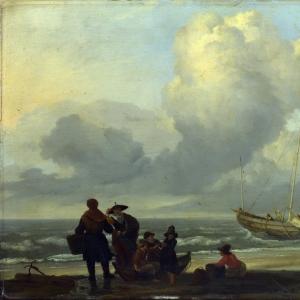 Людольф Бакхёйзен - Пейзаж с рыбаками на берегу моря