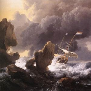 Людольф Бакхёйзен - Корабли, терпящие бедствие у прибрежных скал