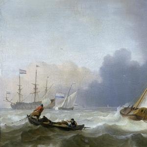 Людольф Бакхёйзен - Нидерландская яхта под парусом в бурном море, 1694