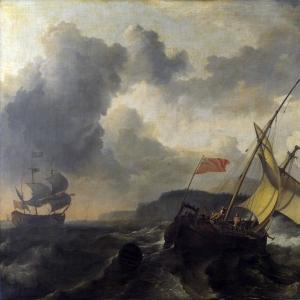 Людольф Бакхёйзен - Английское судно и военный корабль в бушующем море