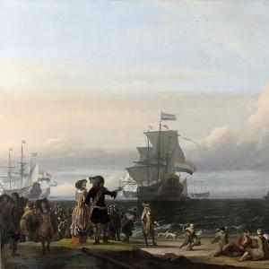 Людольф Бакхёйзен - Голландские суда на рейде острова Тессель; в центре картины флагман -Золотой лев- под командой Корнелиса Тромпа