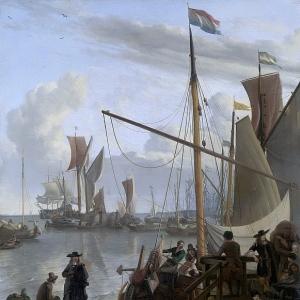 Людольф Бакхёйзен - Частная яхта у Амстердама и пирс для судов, добывающих мидий, 1673