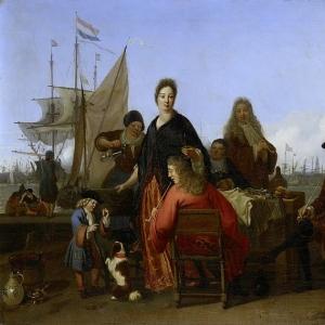 Людольф Бакхёйзен - Семьи Бакхейзен и де Хоге за обедом на Устричном причале в Амстердаме, 1702