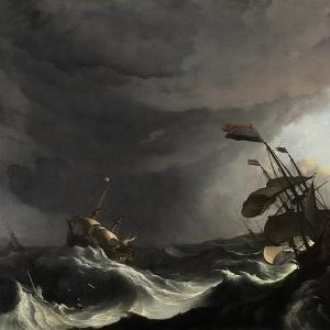 Людольф Бакхёйзен - Военные корабли «Риддерсхап» (справа) и «Голландия» (слева), захлестываемые волнами во время шторма в Гибралтарском проливе, 1694-1708