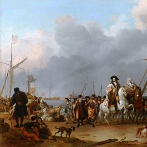 Людольф Бакхёйзен - Прибытие штатгальтера Вильгельма III (1650- 1702) в польдер Оранье 31 января 1691 года