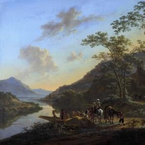 Ян Бот - Итальянский пейзаж с паромом. 1640-52.