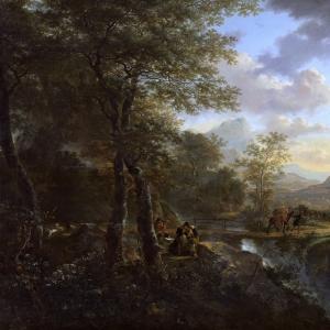 Ян Бот - Итальянский пейзаж с путниками. 1650
