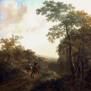 Ян Бот - Итальянский пейзаж с всадниками