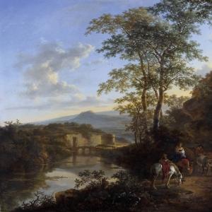 Ян Бот - Итальянский пейзаж с Мульвиевым мостом. 1640-52.