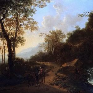 Ян Бот - Горный итальянский пейзаж с путниками